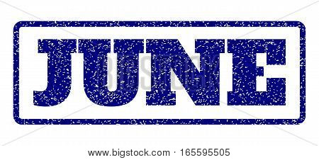 Navy Blue rubber seal stamp with June text. Vector tag inside rounded rectangular shape. Grunge design and scratched texture for watermark labels. Horisontal emblem on a white background.