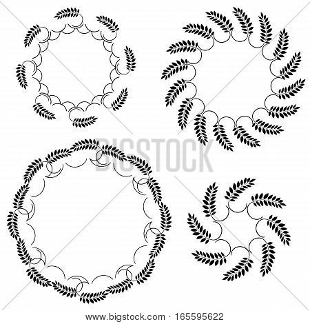 Laurel wreath tattoo set. Black round ornaments, circle signs on white background. Victory, peace, glory symbol. Vector