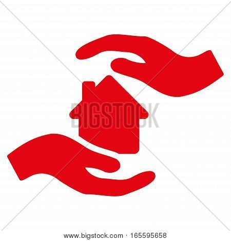 House Care Hands vector icon. Flat red symbol. Pictogram is isolated on a white background. Designed for web and software interfaces.