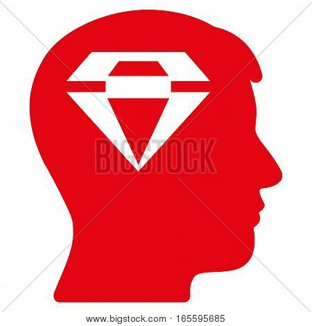 Human Head With Diamond vector icon. Flat red symbol. Pictogram is isolated on a white background. Designed for web and software interfaces.