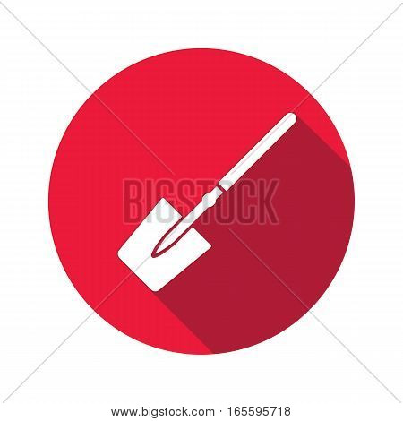 Tool icon. Spade, shovel instrument. Work, job, labour, toil, repair, unskilled, building symbol. White sign on round red button with long shadow. Vector isolated