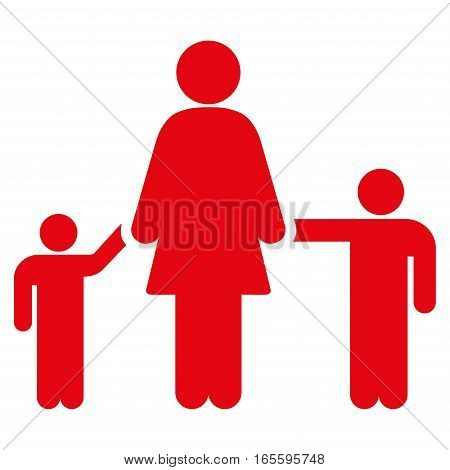 Mother Children vector icon. Flat red symbol. Pictogram is isolated on a white background. Designed for web and software interfaces.