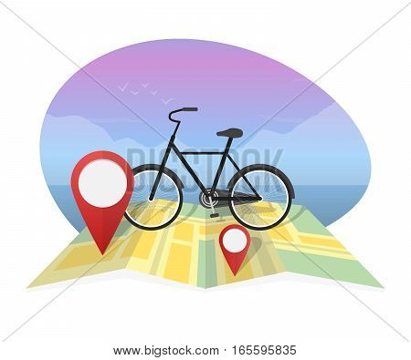 Vector illustration traveler with bicycle on map background.