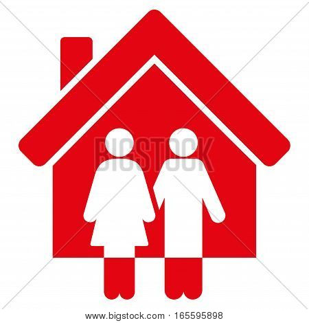 Property vector icon. Flat red symbol. Pictogram is isolated on a white background. Designed for web and software interfaces.