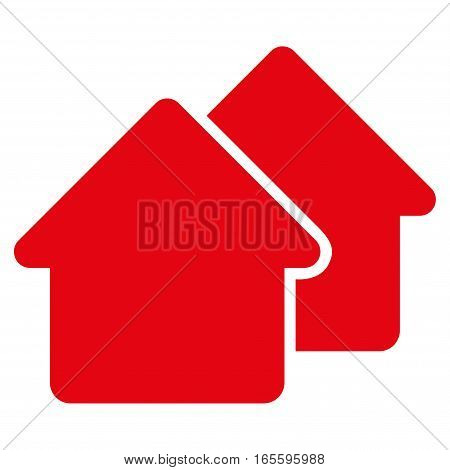 Village vector icon. Flat red symbol. Pictogram is isolated on a white background. Designed for web and software interfaces.