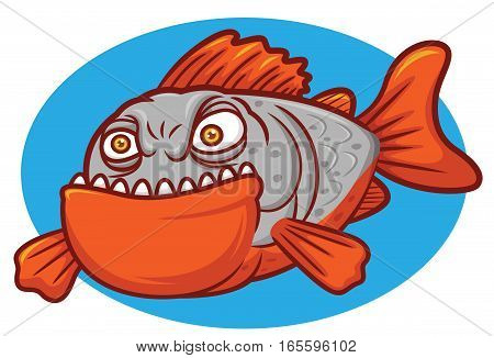 Wild Piranha Fish Cartoon Character on Round Blue Background
