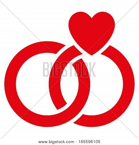 Wedding Rings vector icon. Flat red symbol. Pictogram is isolated on a white background. Designed for web and software interfaces.