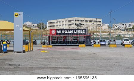 PIRAEUS GREECE - MAY 04: Ferry Ticket Office in Piraeus on MAY 04 2015. Tickets Office of Minoan Lines in Biggest Greek Seaport in Piraeus Greece.