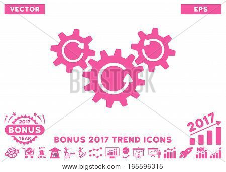 Pink Transmission Wheels Rotation pictograph with bonus 2017 trend icon set. Vector illustration style is flat iconic symbols, white background.