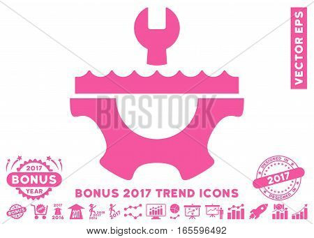 Pink Water Service Gear icon with bonus 2017 year trend images. Vector illustration style is flat iconic symbols white background.