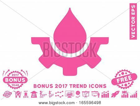 Pink Water Service pictogram with bonus 2017 trend clip art. Vector illustration style is flat iconic symbols white background.