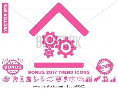 Pink Workshop pictograph with bonus 2017 year trend pictures. Vector illustration style is flat iconic symbols white background.