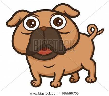 Pug Cartoon Animal Character. Vector Illustration Isolated on White.