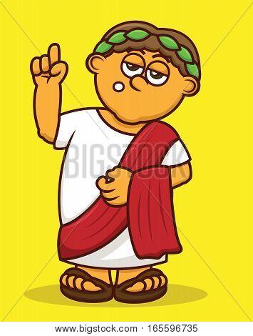 Fat Roman Emperor Cartoon Character. Vector Illustration.