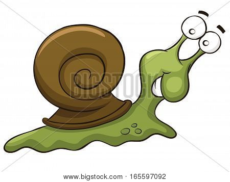 Snail Animal Cartoon Character Isolated on White