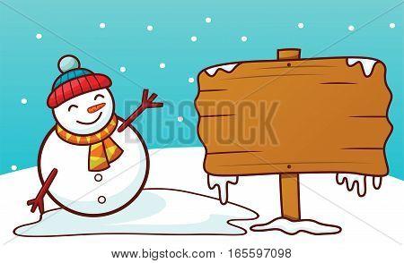Snowman with Blank Sign Board Cartoon Illustration