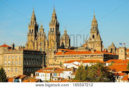 View of the Cathedral from the Alameda Park in Santiago de Compostela, Galicia, Spain