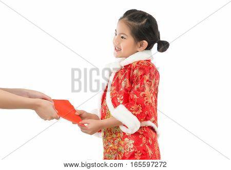 Little Girl Receives Red Envelope Luck Money