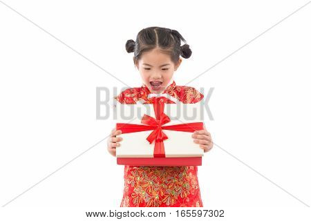Girl Feel Surprised To Open A Gift Box