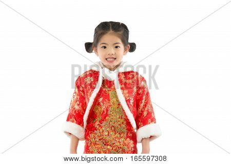 Girl Wearing Traditional Cheongsam
