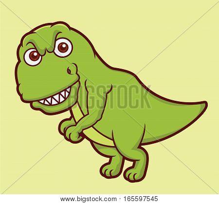 Tyrannosaurus Cartoon Prehistoric Animal Character. Vector Illustration.