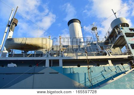 Tampa, Florida - Usa - January 07, 2016: Ss American Victory Memorial And Museum Ship