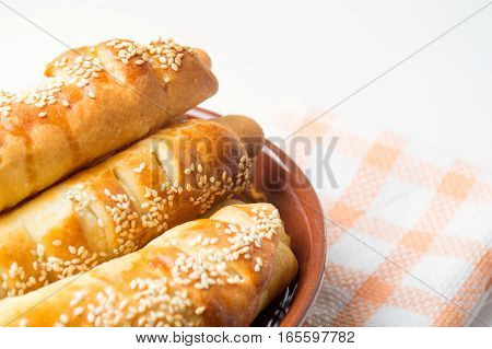 Sesame Covered Pastry In A Bowl
