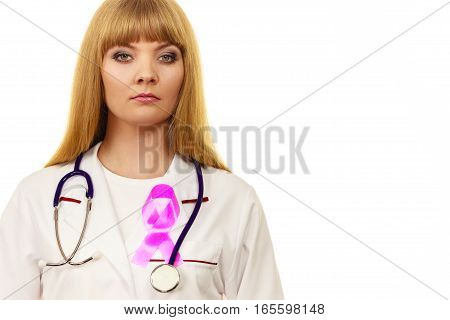 Woman doctor with stethoscope and pink ribbon aids symbol on chest. Healthcare medicine breast cancer awareness concept.