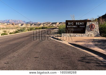 Entrance to Big Bend National Park in the State of Texas