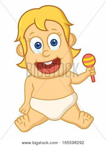Baby with Toy Cartoon Illustration Isolated on White Background