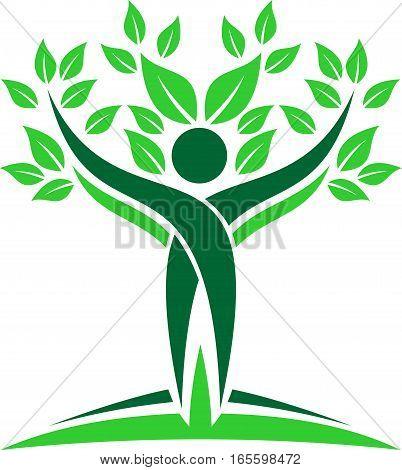 logo illustration human tree resources green natural