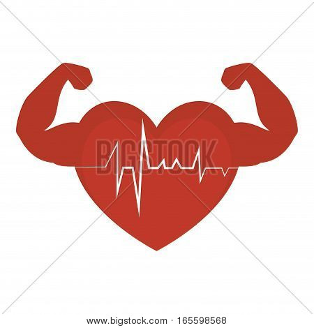 heart cardio with strong hands vector illustration design