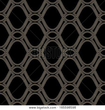 Seamless ornament. Modern geometric pattern with repeating wavy lines. Black and golden pattern