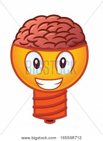 Smiling Brain Lamp Cartoon Character Isolated on White