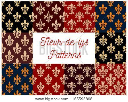 Floral pattern of fleur-de-lis. Heraldic french lily ornate motif background. Flowery fleur-de-lys ornament tiles set. Vector flourish ornamental tracery design for embellishment backdrop poster