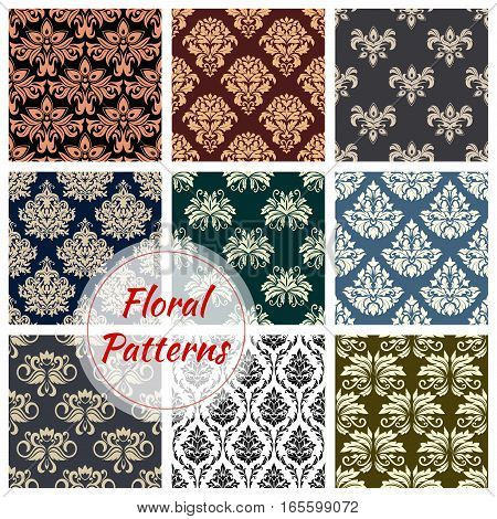 Flourish baroque patterns set of flowery motif and ornate luxury embellishment. Floral backdrops with rococo ornament tiles of seamless tracery and ornamental flowers for interior design