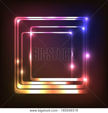 Abstract glowing background with rounded rectangle, stock vector
