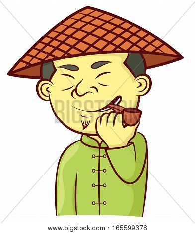 Chinese Man with Hat and Smoking Pipe Cartoon Illustration Isolated on White