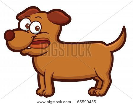 Dog Eating Hot Dog Cartoon Animal Character Isolated on White
