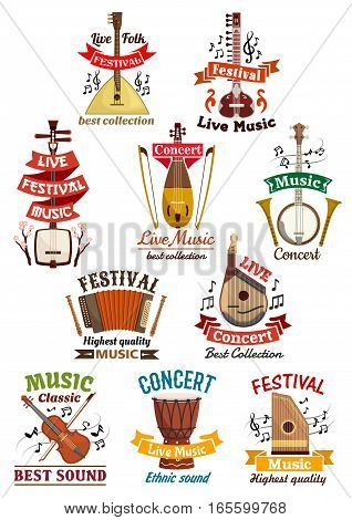 Musical instruments icons. Balalaika, oriental koto or biwa, banjo, lute, harmonica accordion, flute and violin, music note clef, ethnic drum, bandura, lute and zither. Vector isolated badges, emblems or ribbons for musical festival, folk concert