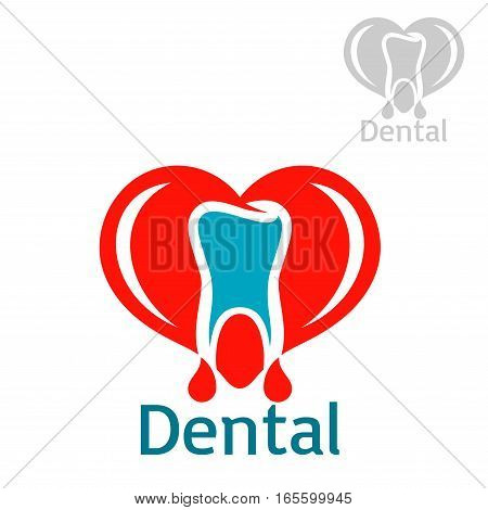 Stomatology icon with tooth. Dentistry and odontology vector isolated flat badge or sign of healthy white tooth with red heart in shape of open mouth. emblem for dentist, stomatologist clinic, teeth health center or tooth paste design
