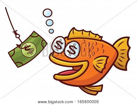 Fish Attracted with Money on Fishing Bait Cartoon lllustration