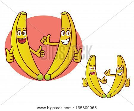 Two Happy Banana Cartoon Character. Vector Illustration.