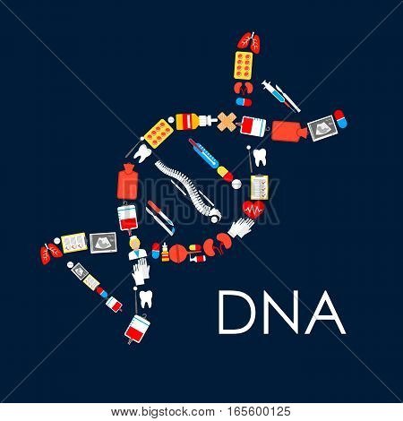 Medications and medicine items in shape of genetics DNA helix chain. Vector poster of drugs and pills capsules, human spine and kidney with lungs organs, ultrasonography, blood dropper, tooth, heart pulse, medical thermometer with surgery scalpel
