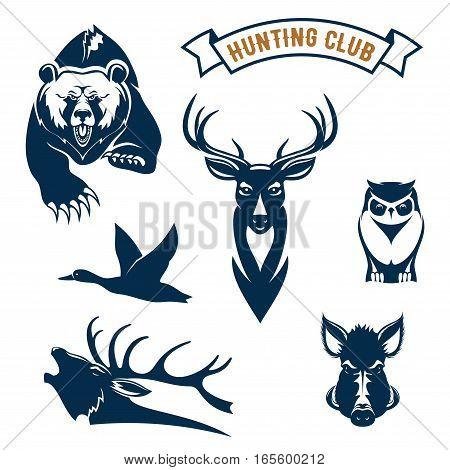 Hunting club icons of hunt wild animals grizzly bear, deer or reindeer, flying duck and elk antler, owl, boar or aper. Vector symbols and ribbon for hunt adventure sport sign, hunter club badges or emblems