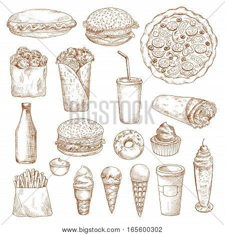 Fast Food icons. Vector isolated sketch hot dog, cheeseburger, french fries or potato chips, burrito kebab, soda drink with donut dessert and cake, hamburger or burger, mayonnaise or ketchup bottle, ice cream, coffee and milkshake