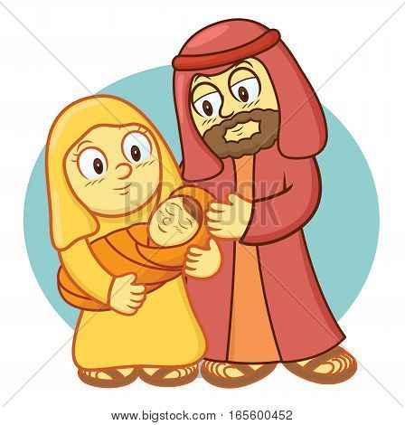 Holy Family Cartoon Illustration with Blue Rounded Background