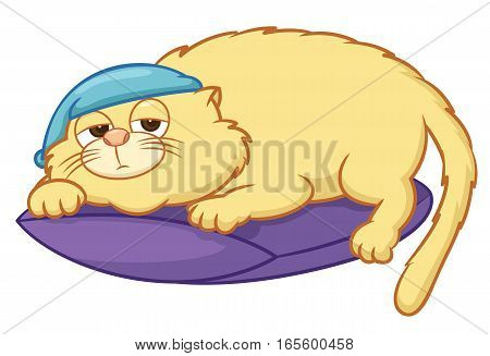 Lazy Cat with Night Cap Lying on Pillow Cartoon Illustration