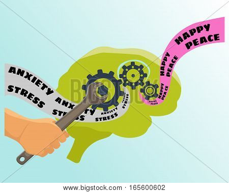 Brain training vector illustration. Psychologist concept icon flat isolated.