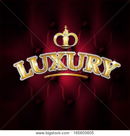 Vector illustration of gold text luxury diamonds